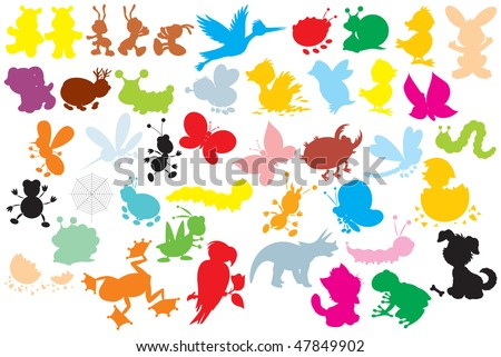 Silhouettes of animals: different insects, dogs, stork, hare, ducklings, chicks, dinosaur, frogs, parrot - stock vector