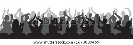 Silhouettes of applauding spectators in chairs. Crowd of people. Vector illustration