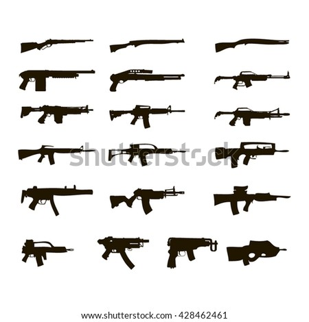 silhouettes of automatic weapons