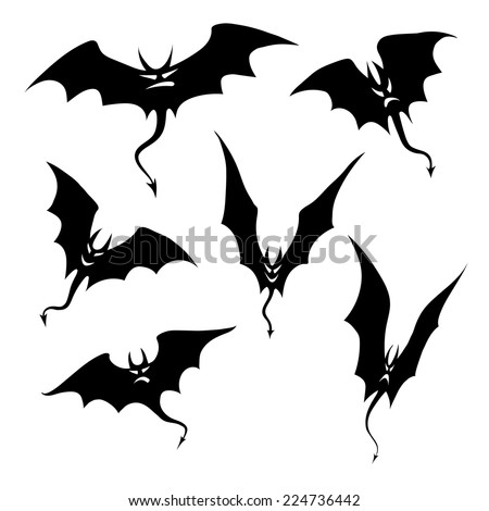 Silhouettes of bats demons