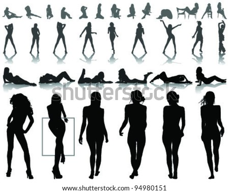 silhouettes of beautiful  and