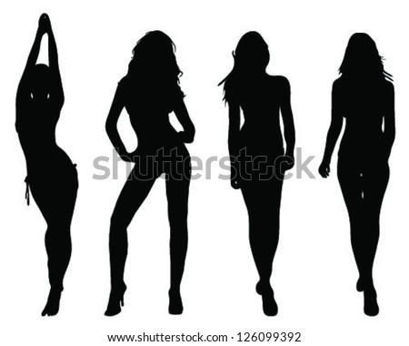 silhouettes of beautiful girls