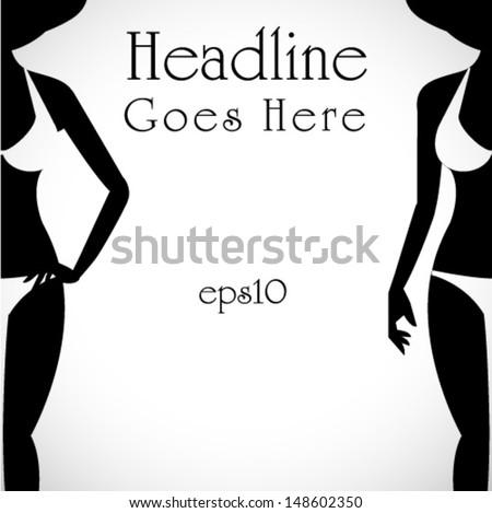 silhouettes of bikini girl