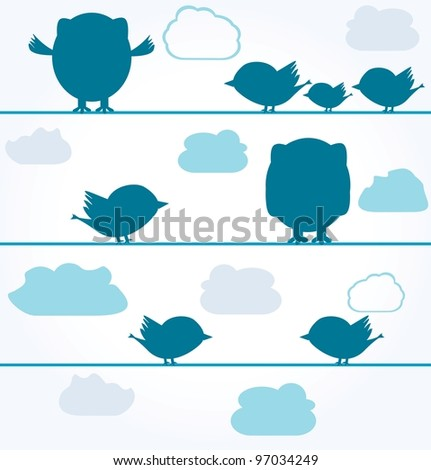 silhouettes of birds and owls