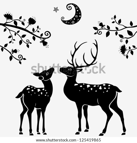 Deer illustration black and white - photo#5