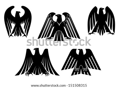 silhouettes of black eagles for