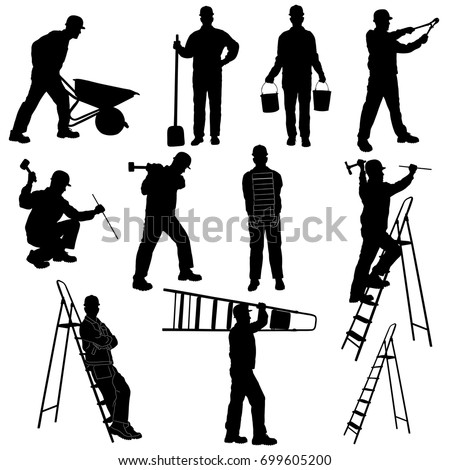 Silhouettes of builder in costume and helmet isolated on white background. Profile of man working with instruments and tools: ladder, pliers, bucket, bricks, burrow, hammer.