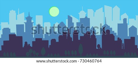 silhouettes of buildings urban