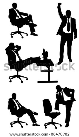 silhouettes of business men posing