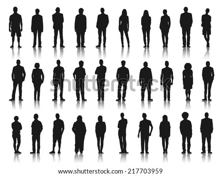 Silhouettes of Business People in a Row #217703959