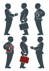 Silhouettes of businessmen in cartoon style