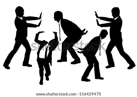 Silhouettes of Businessmen push or holding something heavy with white background