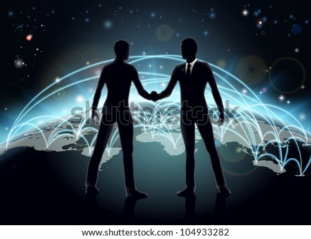Silhouettes of businessmen shaking hands in front of world map with network or international trade lines