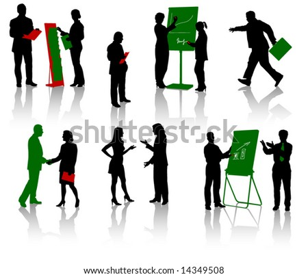 Silhouettes of businesspeople. Men and women. Vector. Isolated.