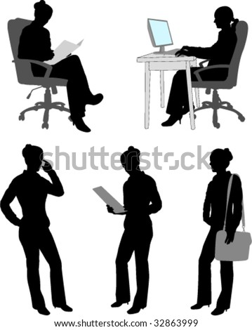 silhouettes of businesswoman - vector