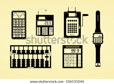 Silhouettes of calculators, watch, abacus and adding machine