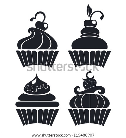 silhouettes of cartoon cupcakes