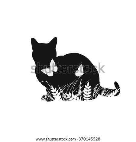 silhouettes of cat with