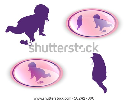 silhouettes of child with cat collection