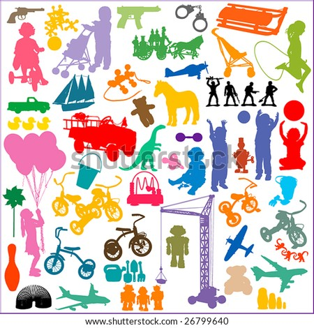 silhouettes of children and toys.  NO auto-trace: HIGH QUALITY vector paths. For more silhouettes, see also my Shutterstock files #13963618, #13360948, #13360951, #14051254, #19737103, - stock vector