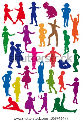 Silhouettes of children at dance, exercises are an aerobics, shaping