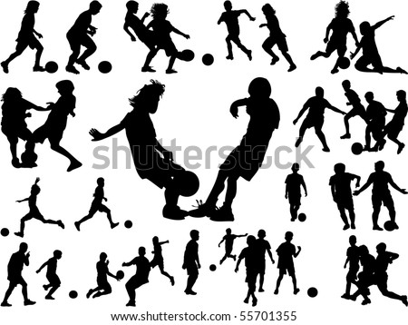 silhouettes of children in action, playing football - stock vector