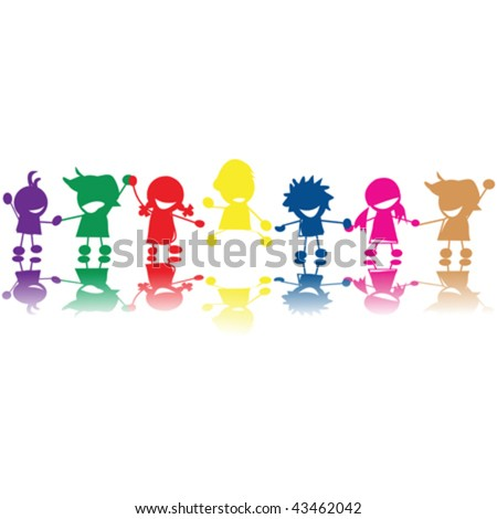 Silhouettes of children in colors and races holding hands - stock vector