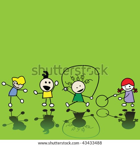 Silhouettes of children playing - stock vector