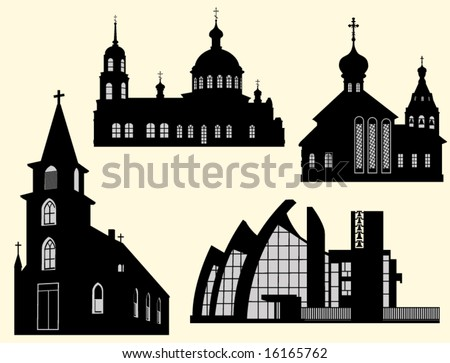 Silhouettes of church, church and cathedral on a light background