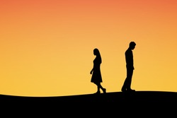Silhouettes of couple man and woman broken heart. In nature sunset background. Love break up concept. Vector illustration.