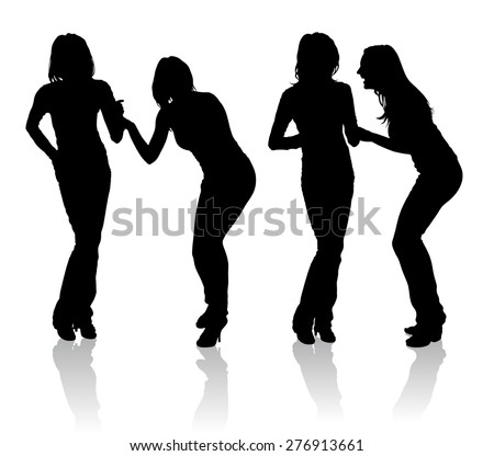silhouettes of couple of girls
