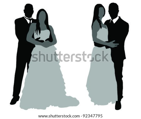 Silhouettes of couples at wedding-vector