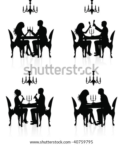 Silhouettes of couples having a romantic dinner.