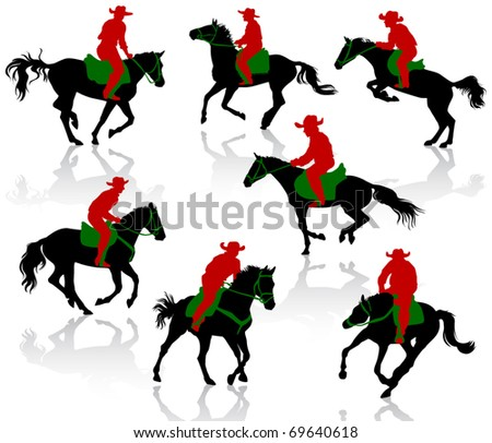 Silhouettes of cowboys on horseback.