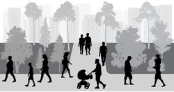 Silhouettes of crowd of people walking in park. Vector illustration.