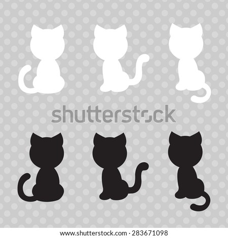 silhouettes of cute cats