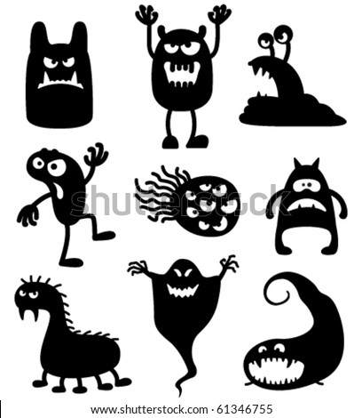 Silhouettes of cute doodle monsters bacteria
