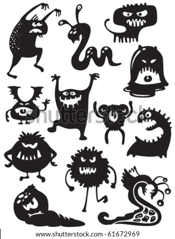 Silhouettes of cute doodle monsters-bacteria