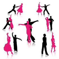 Silhouettes of dancing couples. Vector illustration.