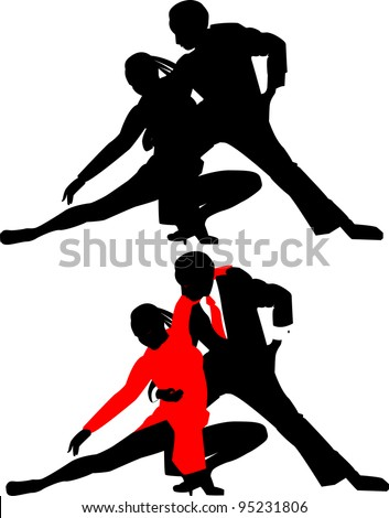 silhouettes of dancing couples without background