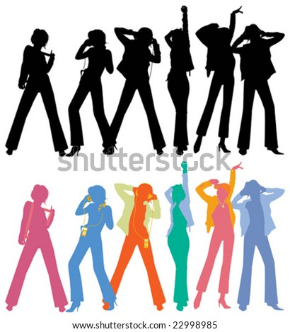 Silhouettes of dancing peoples, vector illustration. 	 - stock vector