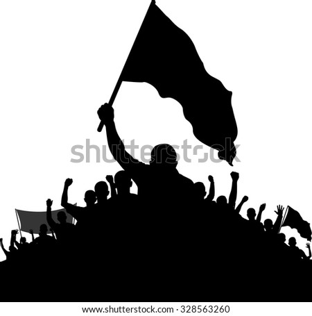 silhouettes of demonstrators