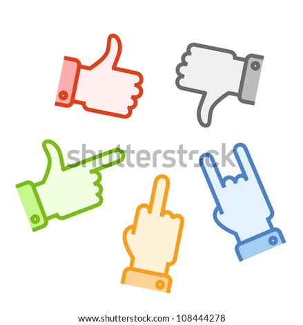 Silhouettes of different color hand gestures isolated on white background - stock vector