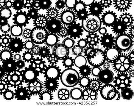 Silhouettes of different gear-wheels in a vector