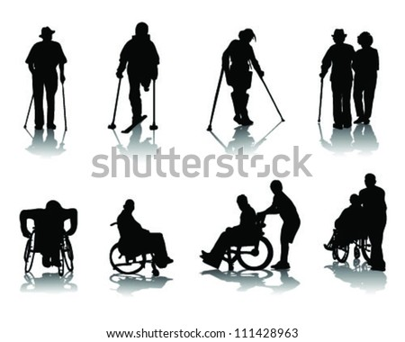 silhouettes of disabled people