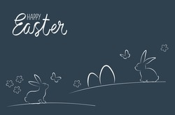 Silhouettes of Easter bunnies on a dark background. Easter card is drawn with lines.