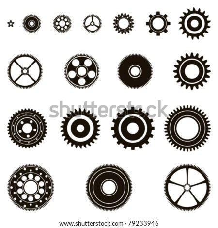 Silhouettes of eighteen different cog wheels / pinions, gear set.
