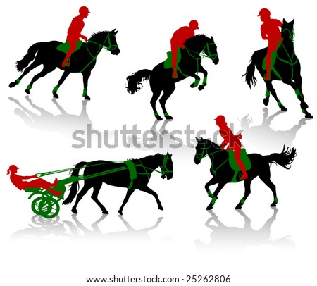 Silhouettes of equestrians on horses during competitions - stock vector