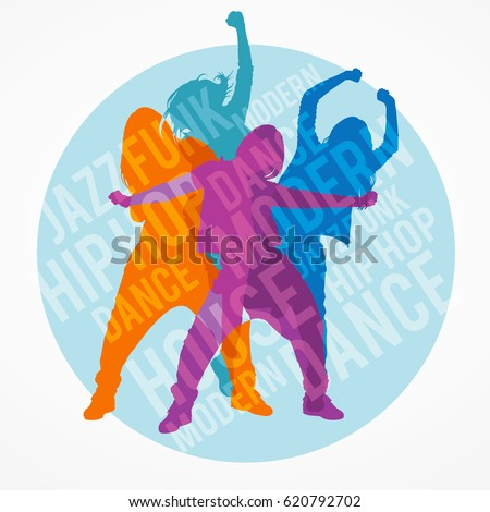 Silhouettes of expressive girls dancing modern dance styles. Jazz funk, hip-hop, house dance lettering. Detailed vector silhouettes of dancers inside circle border.
