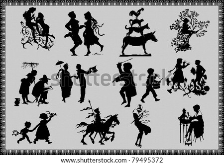 silhouettes of fairy tale figures